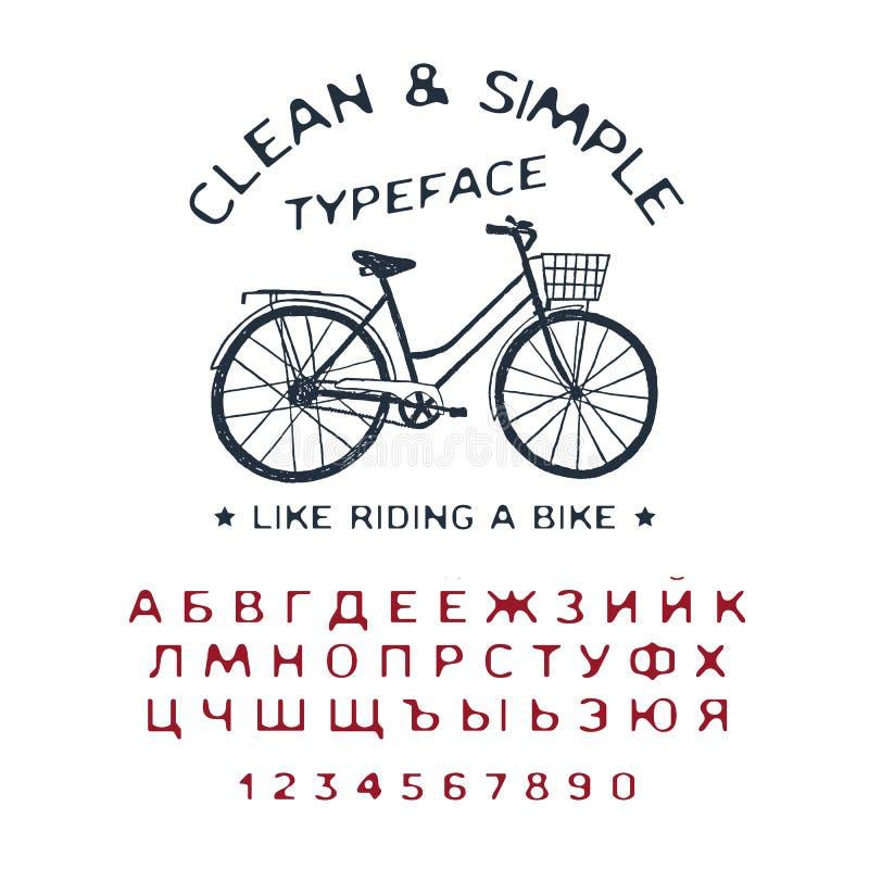 手拉的干净&简单的字体 库存例证