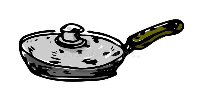 手拉的平底锅五颜六色的象 手拉的黑剪影 标志标志 装饰元素 奶油被装载的饼干 查出 平的设计 库存例证