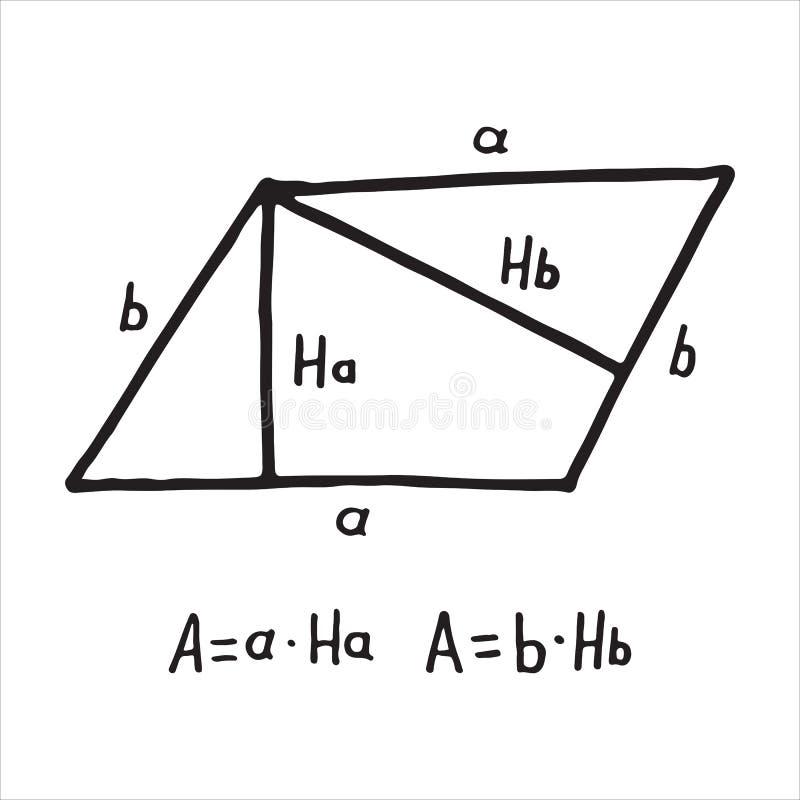手拉的平行四边形区域 教育的,象剪影 库存例证