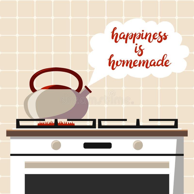 手拉的幸福是自创印刷术字法海报有厨房传染媒介例证背景 向量例证