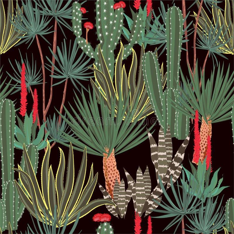 手拉的开花的仙人掌,仙人掌,多汁植物,colofrul无缝的样式水管植物为时尚,织品,网从事园艺,设计, 向量例证