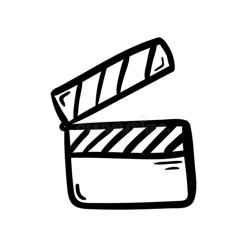 手拉的录影乱画象 手拉的黑剪影 标志标志 装饰元素 奶油被装载的饼干 查出 平的设计 向量例证