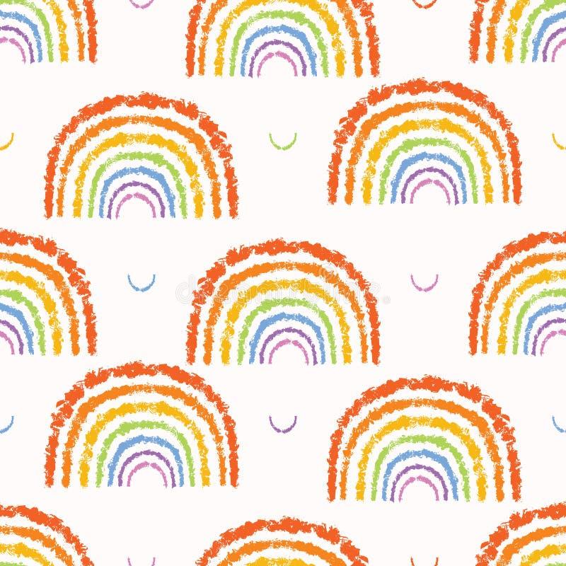 手拉的彩虹传染媒介例证 蓬松多色纹理剪影无缝的传染媒介样式 库存例证