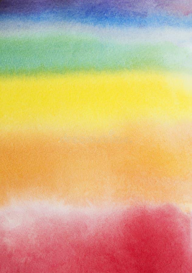 手拉的彩虹摘要水彩背景,原始的waldorf湿绘画 与地方的五颜六色的模板文本的,拷贝spac 库存照片