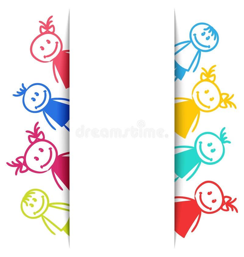 手拉的微笑的五颜六色的女孩和男孩 皇族释放例证