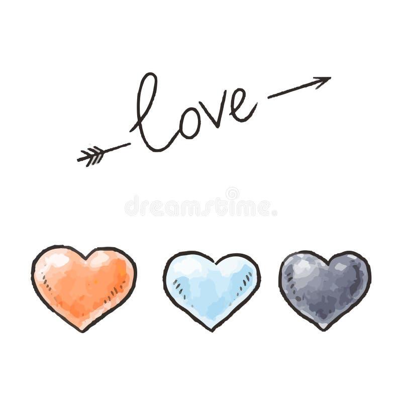 手拉的心脏和爱题字 设计要素为情人节 也corel凹道例证向量 免版税库存图片