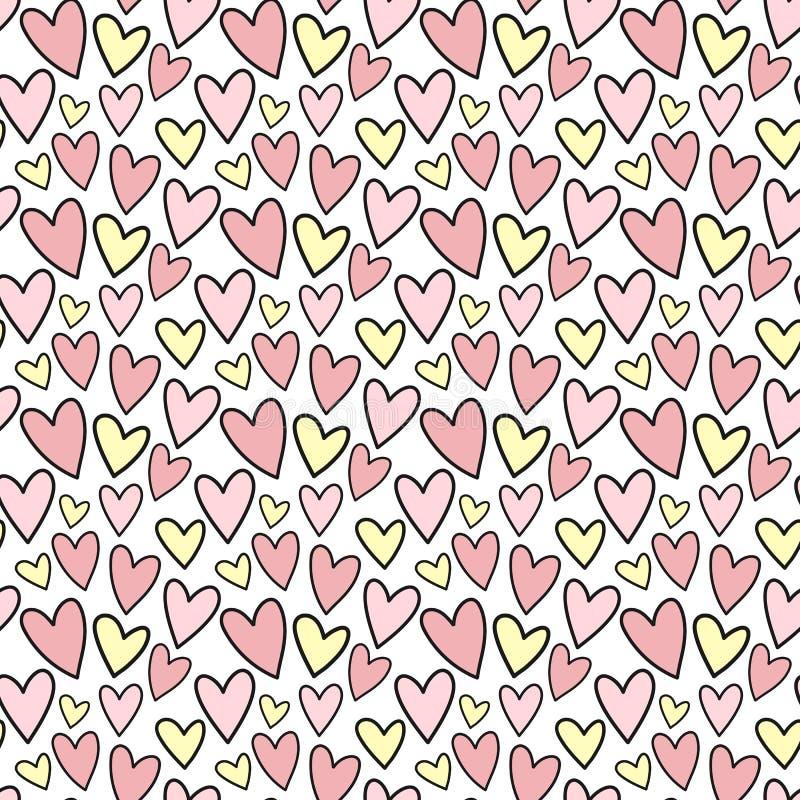 手拉的心脏的无缝的样式在桃红色和黄色颜色的 传染媒介背景影像为假日,婴儿送礼会,生日,valent 库存例证