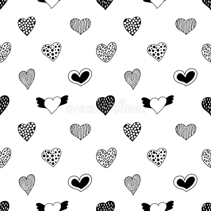 手拉的心脏的无缝的样式 向量例证