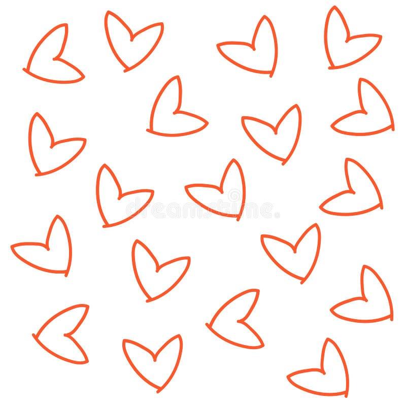 手拉的心脏红色橙色线象印刷品的乱画无缝的样式 向量例证