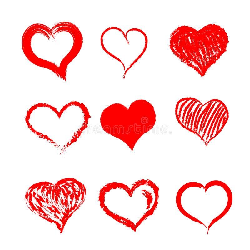 手拉的心脏 向量例证