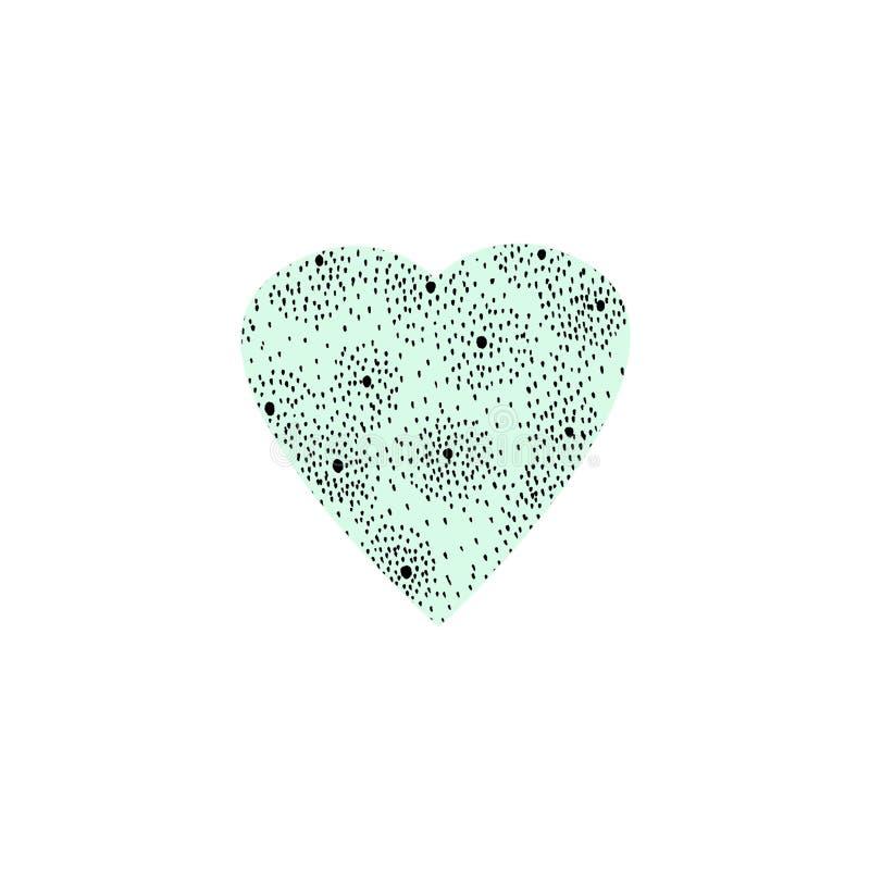 手拉的情人节、母亲节或者婚礼的例证图表绿色心脏 向量例证