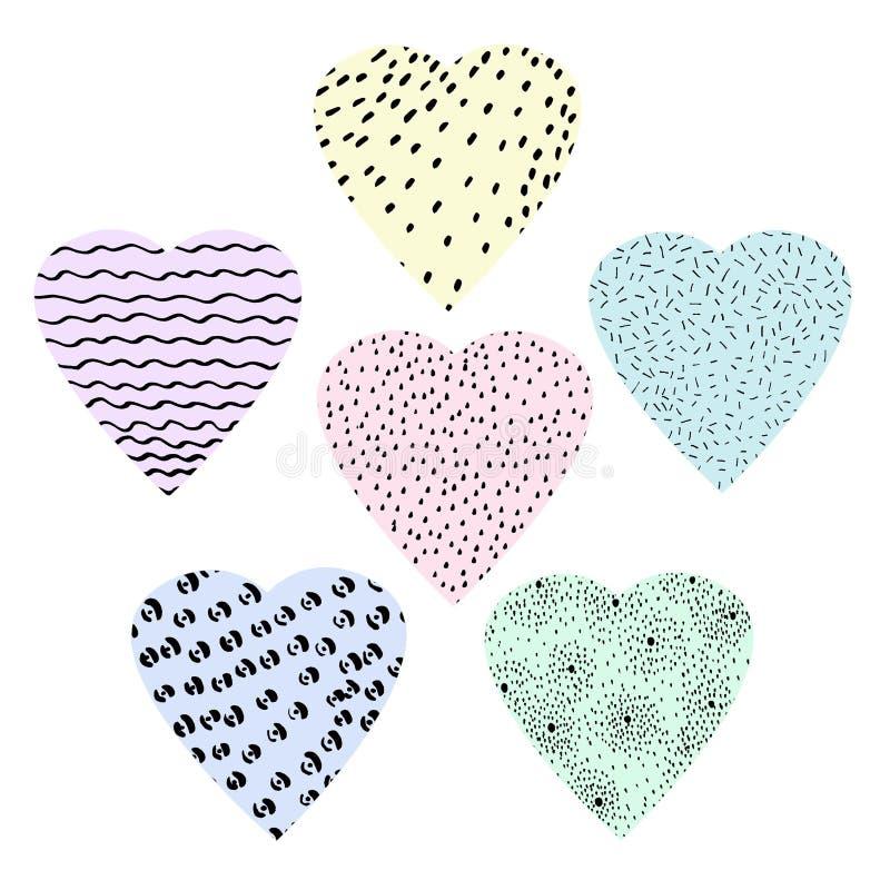 手拉的情人节、母亲节或者婚礼的集合图表心脏 向量例证