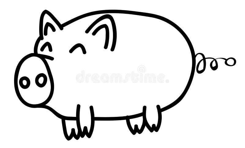 手拉的愉快的在动画片样式,孩子的例证的猪动物概述 库存例证