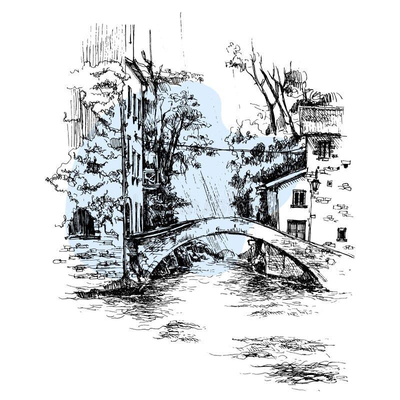 手拉的意大利桥梁,跨接都市剪影 库存例证