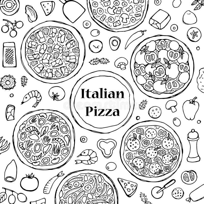 手拉的意大利薄饼集合 皇族释放例证