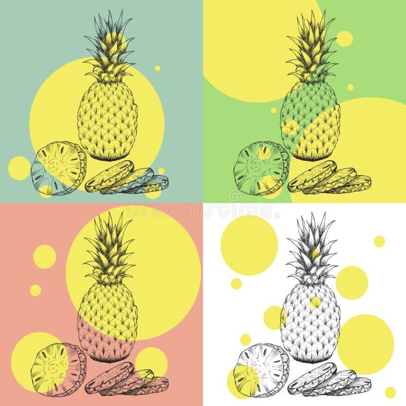 手拉的成熟菠萝的剪影样式集合例证 异乎寻常的热带水果传染媒介例证 皇族释放例证