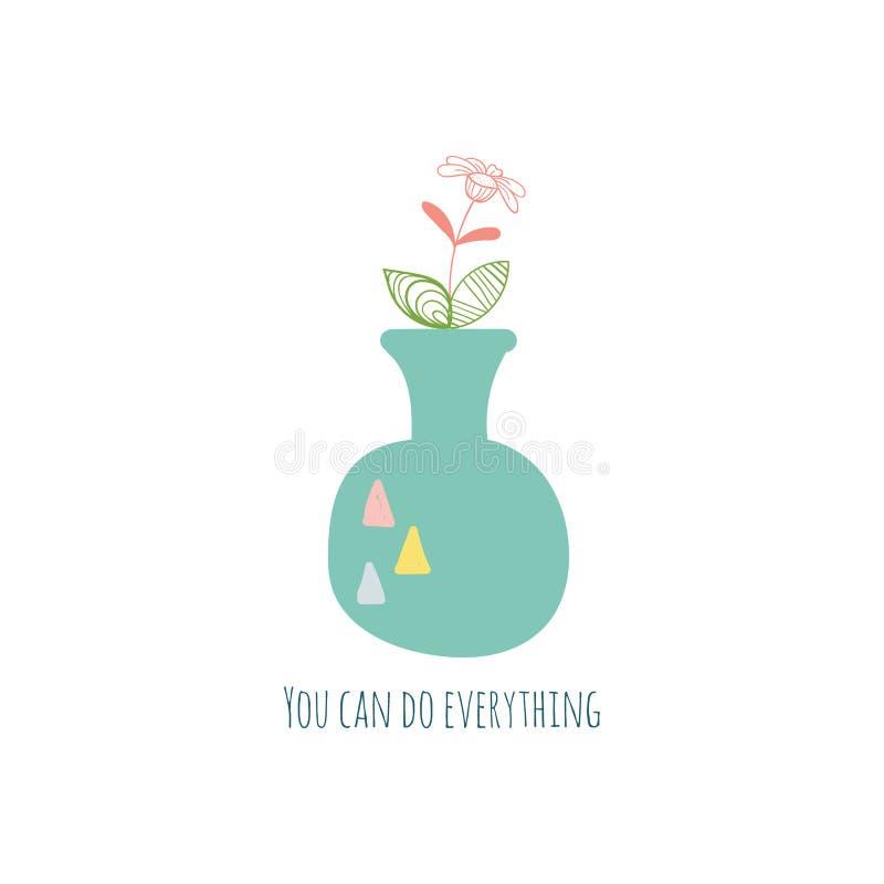 手拉的房子植物和花 E 刺激卡片 向量例证