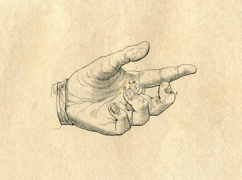 手拉的手葡萄酒图画被刻记的例证 向量例证