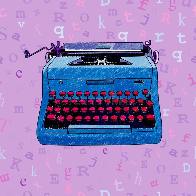 手拉的打字机无缝的设计 免版税库存图片