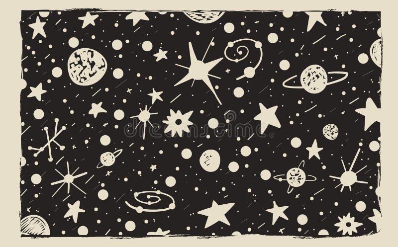 手拉的抓痕样式夜空背景 空间、星和行星 向量例证