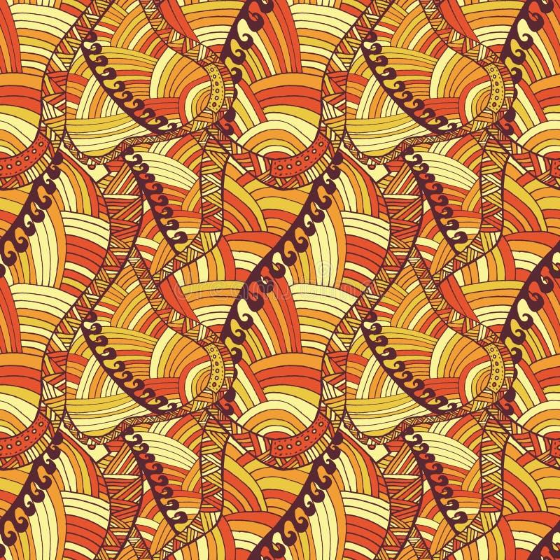 手拉的抽象五颜六色的传染媒介波动图式 向量例证