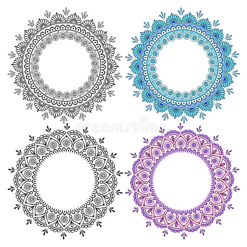 手拉的抽象圆的设计元素集 装饰印地安圆的鞋带华丽坛场 框架或板材设计 向量例证