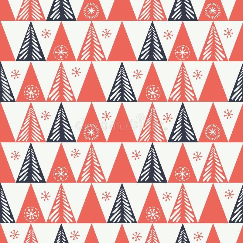 手拉的抽象圣诞树,雪花,三角导航无缝的样式背景 寒假斯堪的纳维亚人 库存例证