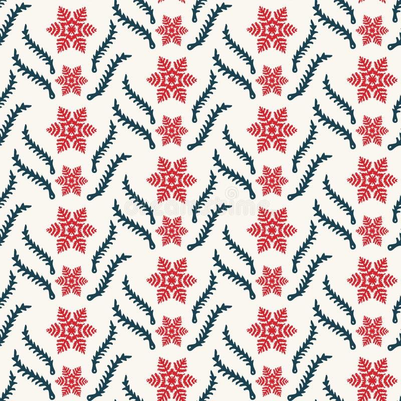 手拉的抽象圣诞节叶子样式 雪花在ecru白色背景的杉树分支 在印刷品的寒假 库存例证