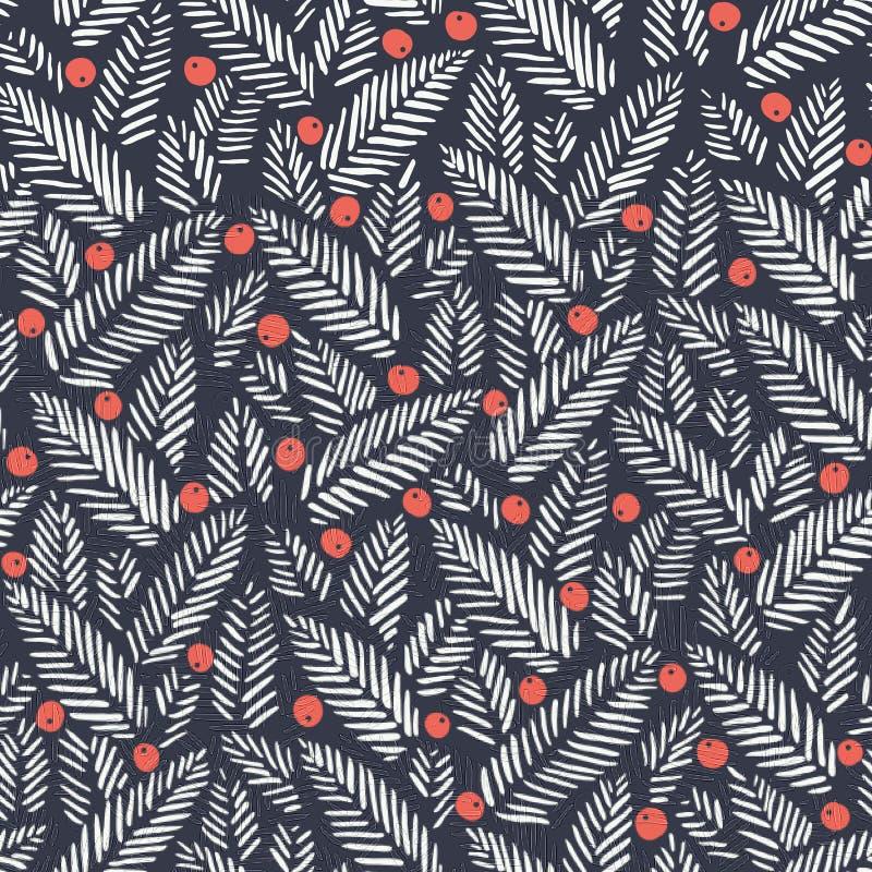 手拉的抽象圣诞节叶子,在黑暗的背景的红色圣洁莓果导航无缝的样式 寒假印刷品 向量例证