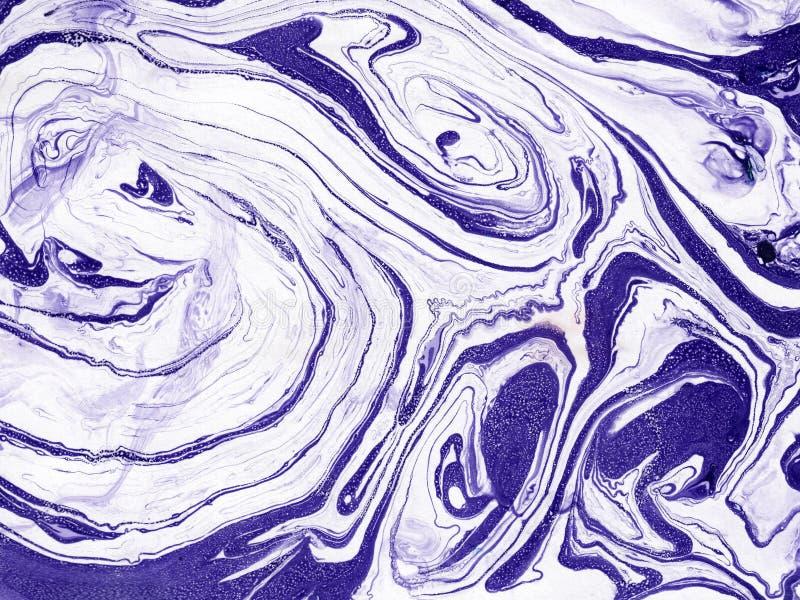 手拉的抽象大理石纹理 手工制造与液体油漆 库存例证