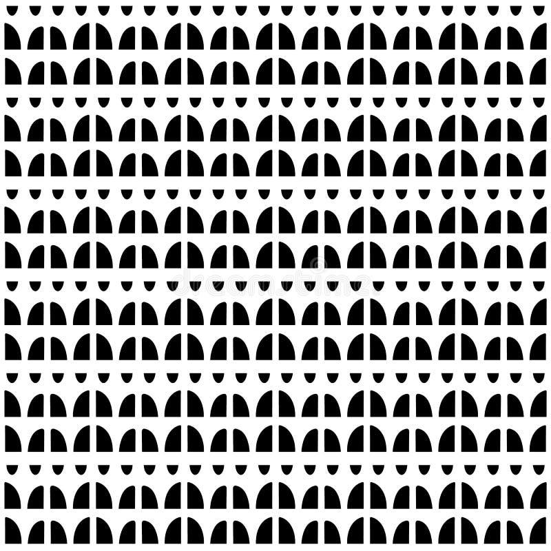 手拉的抽象形状的无缝的重复样式 传染媒介乐趣弯曲在黑白的几何设计 皇族释放例证