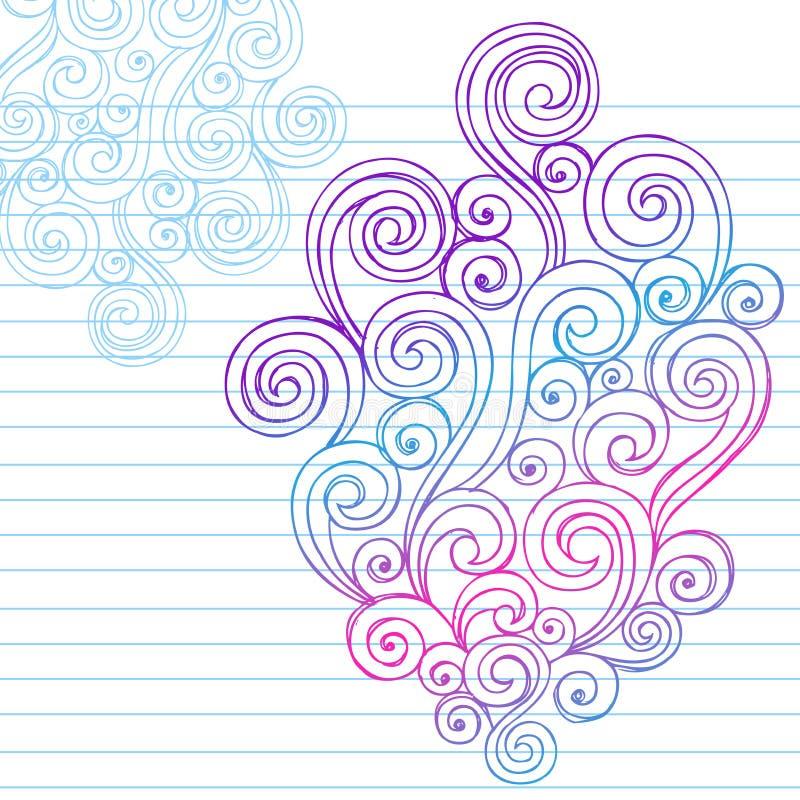 手拉的抽象概略漩涡乱画 向量例证