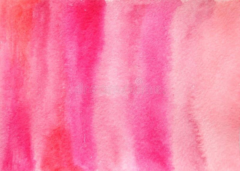 手拉的抽象水彩纹理桃红色背景 库存图片
