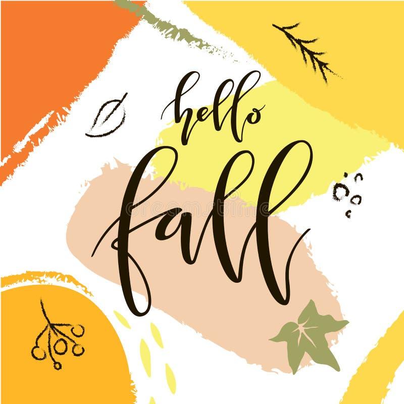 手拉的抽象秋天海报 向量例证