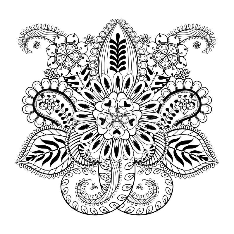 手拉的抽象花和佩兹利元素在印地安mehnd 向量例证