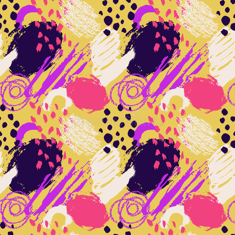 手拉的抽象难看的东西传染媒介无缝的样式 背景绘与墨水 黄色桃红色紫罗兰色白色颜色 农庄 库存例证