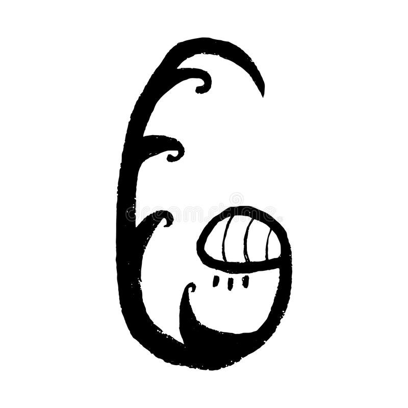 手拉的拉丁字母 信件G -由您的书信设计的手拉的花做的字母表的花卉元素 库存例证