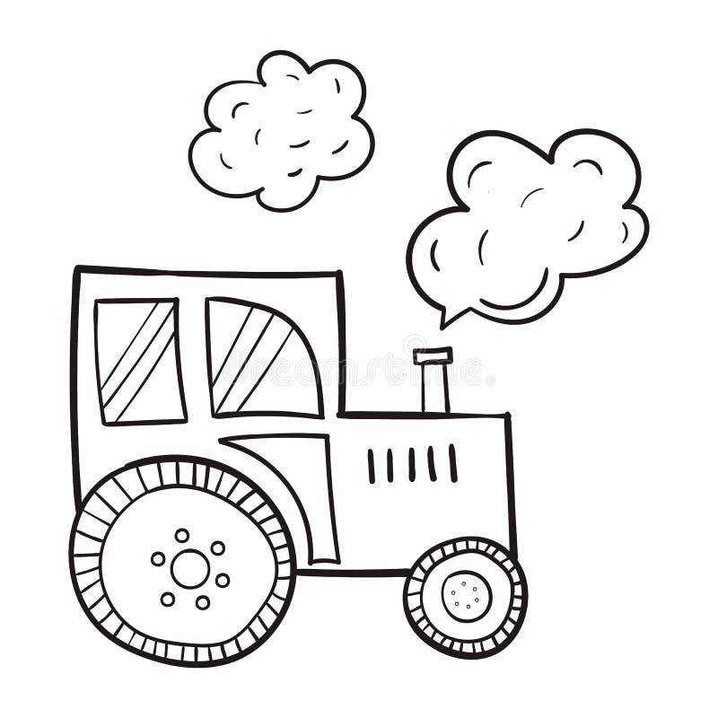 手拉的拖拉机,在动画片样式,农业,在白色背景的黑等高原始主题  免版税图库摄影