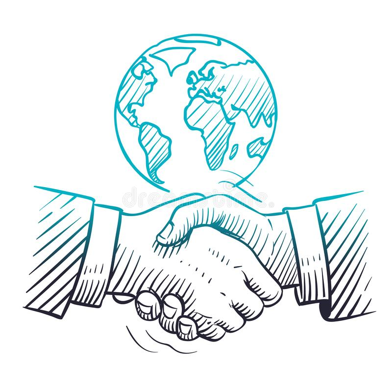 手拉的握手 与握手和地球的国际企业概念 剪影全球性合作领导 皇族释放例证