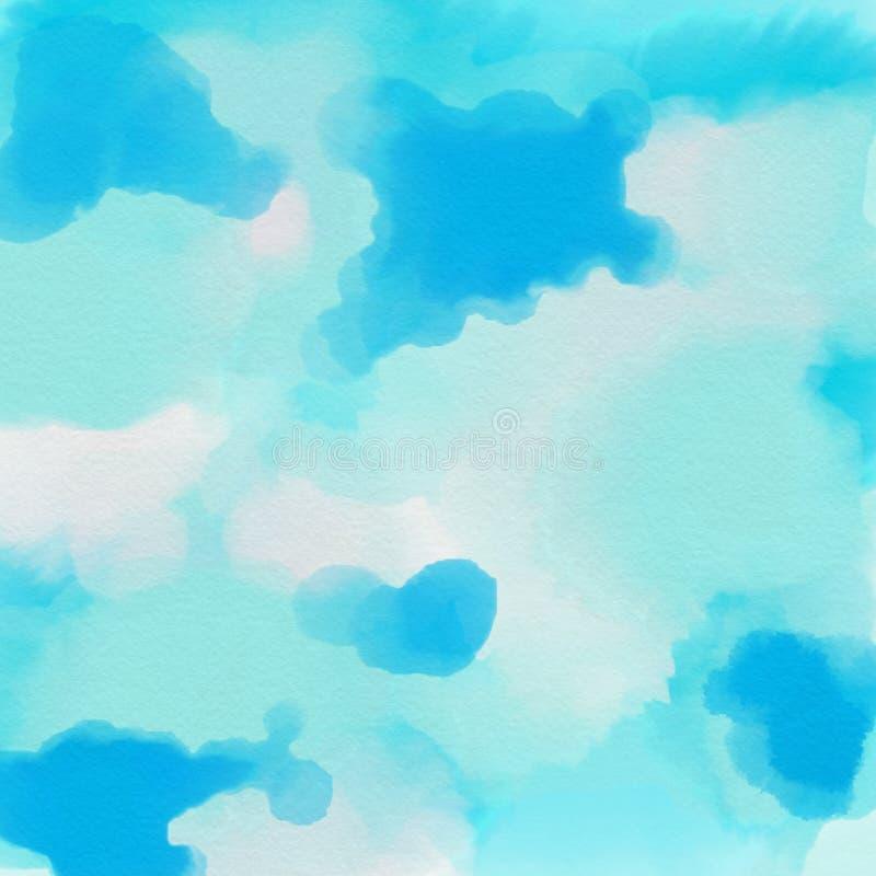 手拉的摘要背景蓝色海和天空 向量例证
