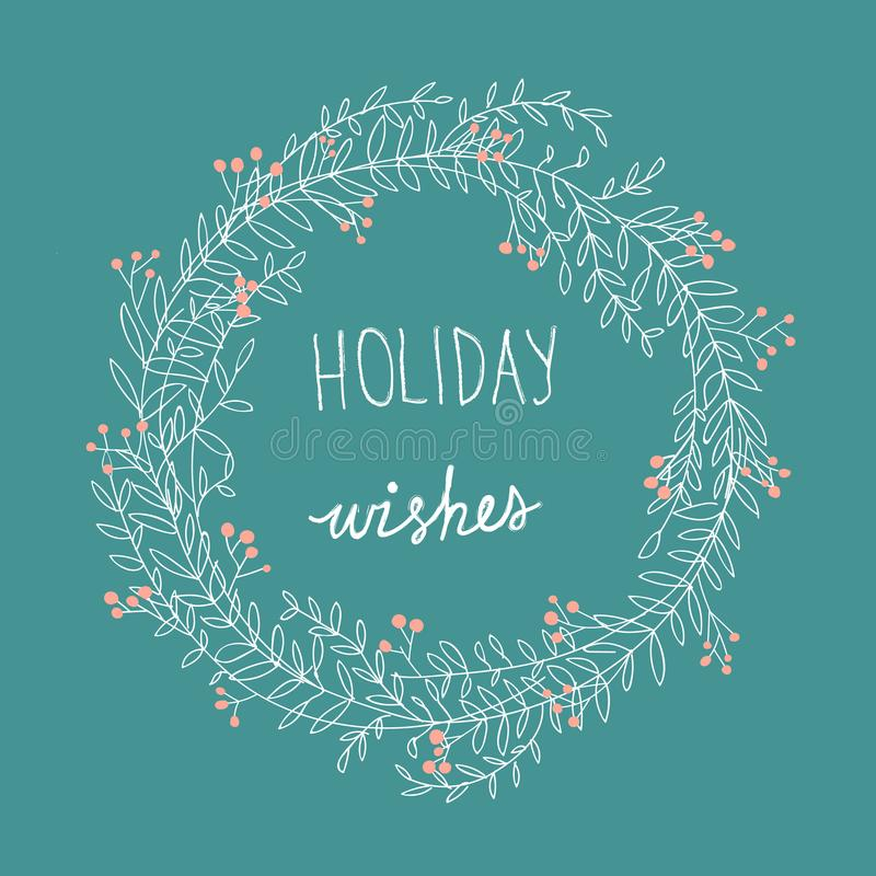 手拉的散漫的乱画白色圣诞节花圈红色霍莉莓果假日祝愿字法 动画片样式 绿松石背景 库存例证