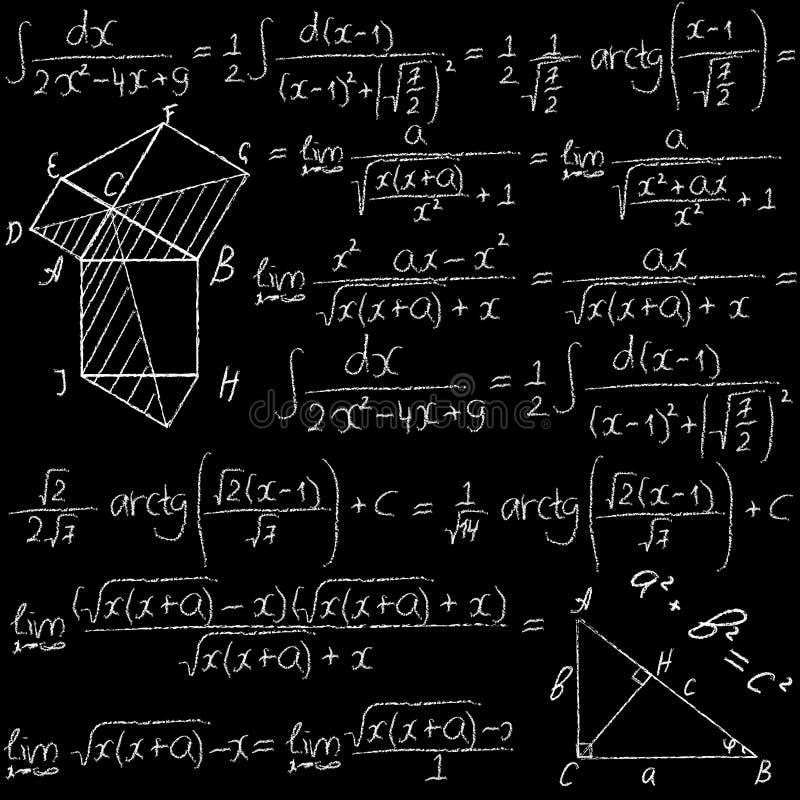手拉的数学与惯例、积分式和几何图的传染媒介无缝的样式 在a的白垩 库存例证