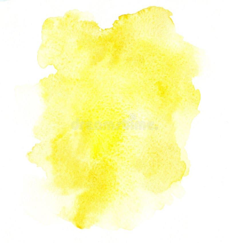 手拉的文本的摘要水彩黄色被弄脏的背景 库存例证