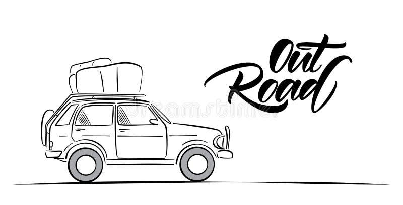 手拉的旅行汽车和路手写的字法  剪影线设计 皇族释放例证