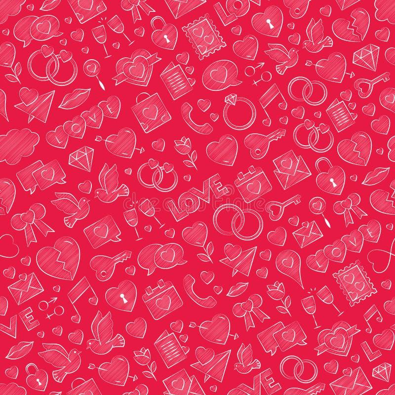手拉的无缝的与白垩色的装填的爱样式传染媒介白色例证在红色背景 重复红色纹理 库存例证