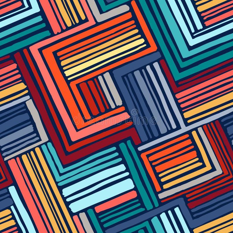 手拉的无缝的几何样式 向量例证