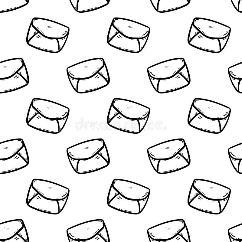 手拉的无缝的样式信封乱画象 手拉的黑剪影 标志标志 装饰元素 奶油被装载的饼干 库存例证