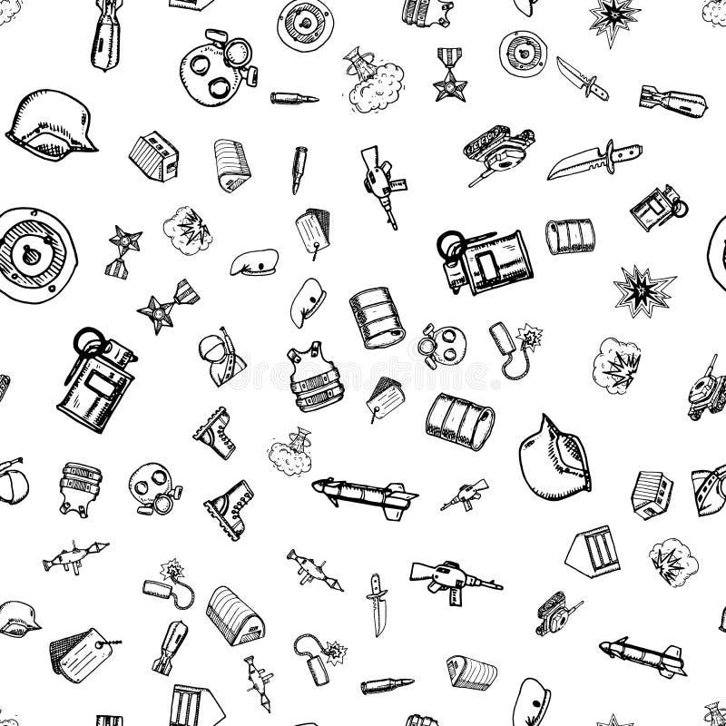 手拉的无缝的样式军事乱画 剪影样式象 装饰元素 背景查出的白色 平的设计 向量例证