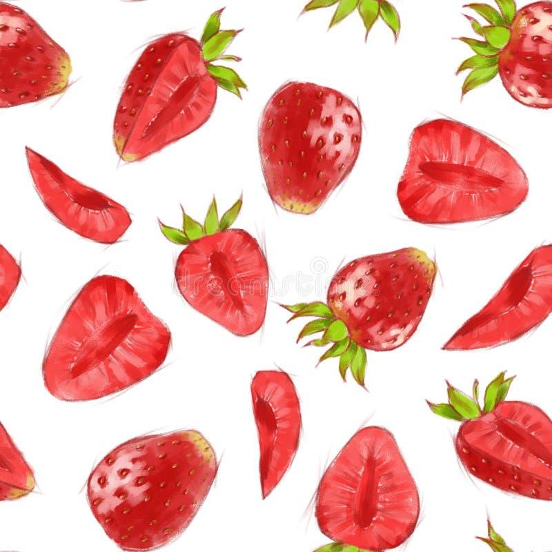 手拉的无缝的样式用在白色背景的水彩草莓 皇族释放例证
