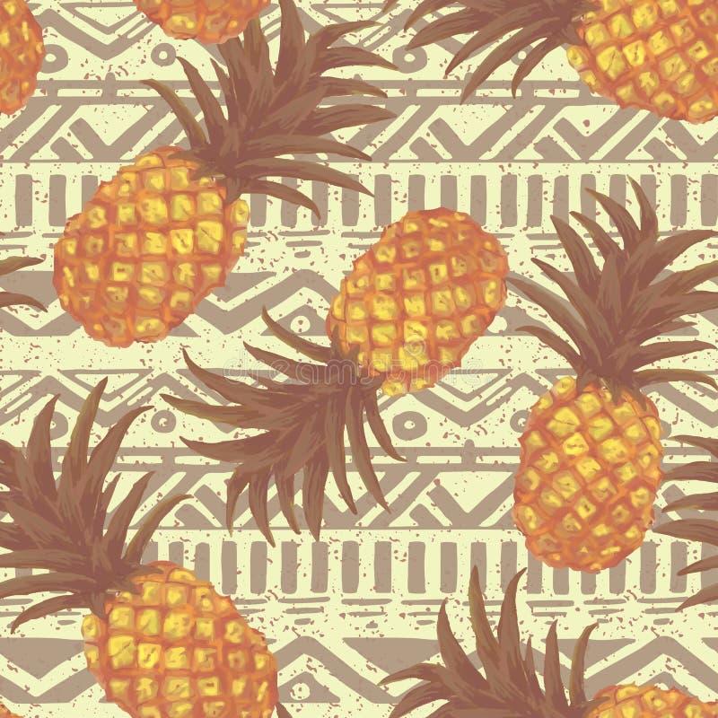 手拉的无缝的样式用菠萝 向量例证